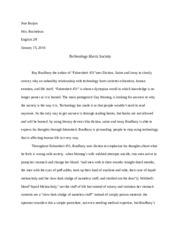 fahrenheit final essay noe borjon mrs rocheleau english h  12 pages fahrenheit 451 final essay