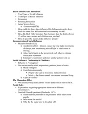 Social Psych Notes-Social Influence