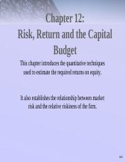 Chap012+risk+return+and+capital+budgeting