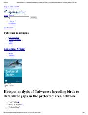 Hotspot analysis of Taiwanese breeding birds to determine gaps in the protected area network _ Zoolo