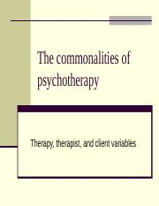 Lecture3. The commonalities of psychtherapy
