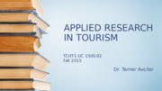 APPLIED RESEARCH IN TOURISM Chapter3