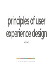 Lecture 2 - Basics of User Experience Design