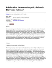 IS FEDERALISM THE REASON FOR POLICY FAILURE IN HURRICANE KATRINA