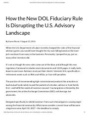 How the DOL Fiduciary Rule Is Disrupting the U.S