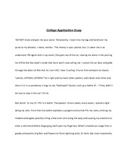 Sample Creative College App Essay