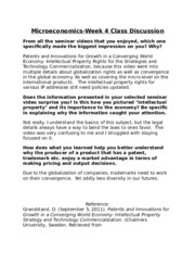 Microeconomics-Week 4 Class Discussion