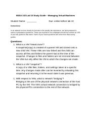 NSSA 102 Lab 10 Study Guide – Managing Virtual Machines.docx