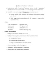 3 - Questions on Customer service case - individual assignment