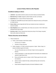 Lecture 8 Notes, Reforms after Republic
