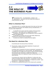 2.1 THE ROLE OF THE BUSINESS PLAN