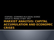 Lecture 11 [Marxist analysis_Capital accumulation and economic crises ]