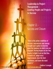 Leadership in Project Management - Chapter 11 - very much abbreviated