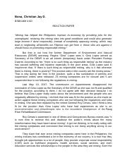 Reaction Paper about Mining in the Philippines
