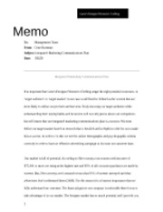 Integrated Marketing Communications Plan Memo