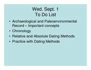 Lec 4 Archaeological record and Dating