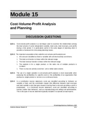 ACG 6315 HW Module 15 Answer Key Cost Volume Profit Analysis and Planning