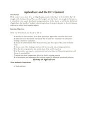IB105 WK4 Agriculture and the Environment