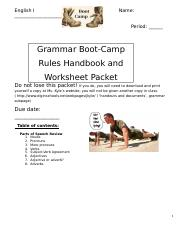 Grammar Boot Camp Packet 1 Docx English I Name Period Grammar