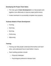 Developing the Project Team Notes