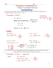 1- Factoring Review key