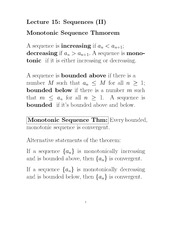 L15 Monotonic Sequence Theorem