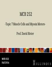 MCB 252 Topic 7 Muscle Cells and Myosin Motors Fa16.pptx