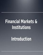 Financial Markets & Institutions #1b