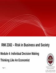 Module 4 - Individual Decision Making think like an economist