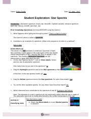 starspectrase - Name Date Student Exploration Star Spectra ...