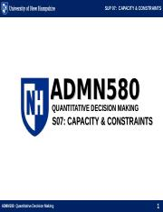 ADMN580 SUP07 CAPACITY AND CONSTRAINT MANAGEMENT.ppt