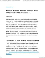 How To Provide Remote Support With Windows Remote Assistance