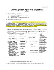 Class Eighteen Notes