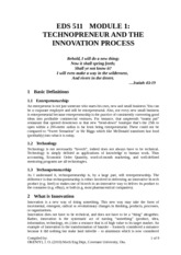 EDS 511 Module1 -TECHNOPRENEUR AND the  Innovation Process (2010-2011).doc