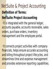 SEM 1 - 3ISB - NETSUITE & PROJECT ACCOUNTING
