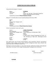 371052627 Contoh Surat Kuasa Wali Nikahdocx Surat Kuasa