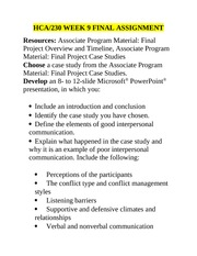hca 230 final project interpersonal communication presentation Hca 230 week 9 final project interpersonal communication presentation hca 230 week 9 final project interpersonal communication presentation resources: associate program material: final project overview and timeline, associate.