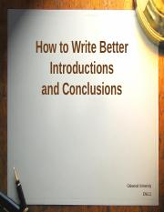 How to Write Introductions and Conclusions