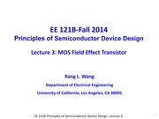 EE121B 2014F Lecture 4-MOSFET