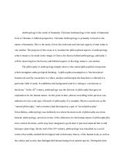 Anthropoloy Thelogy Research Paper