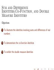 M24 Sum, Difference, CoFunctions and Double Identities