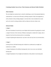 Thesis Statement and Informal Outline Worksheet