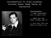 Lecture on Introduction of Citizen Kane (narrative)