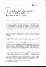 Re-evaluating the Contribution of Social Capital in Achieving Sustainable Development