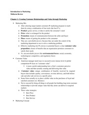Intro to Marketing - Midterm Study Guide