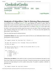 Analysis of Algorithm _ Set 4 (Solving Recurrences) - GeeksforGeeks