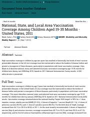 National, State, and Local Area Vaccination Coverage Among Children Aged 19-35 Months - United State