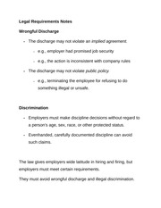 Legal Requirements Notes