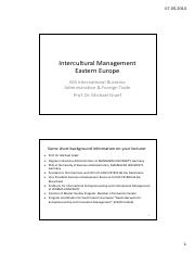 Intercultural Management Eastern Europe Curriculum