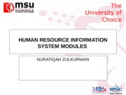 TOPIC 2 - HUMAN RESOURCES INFORMATION SYSTEMS MODULES